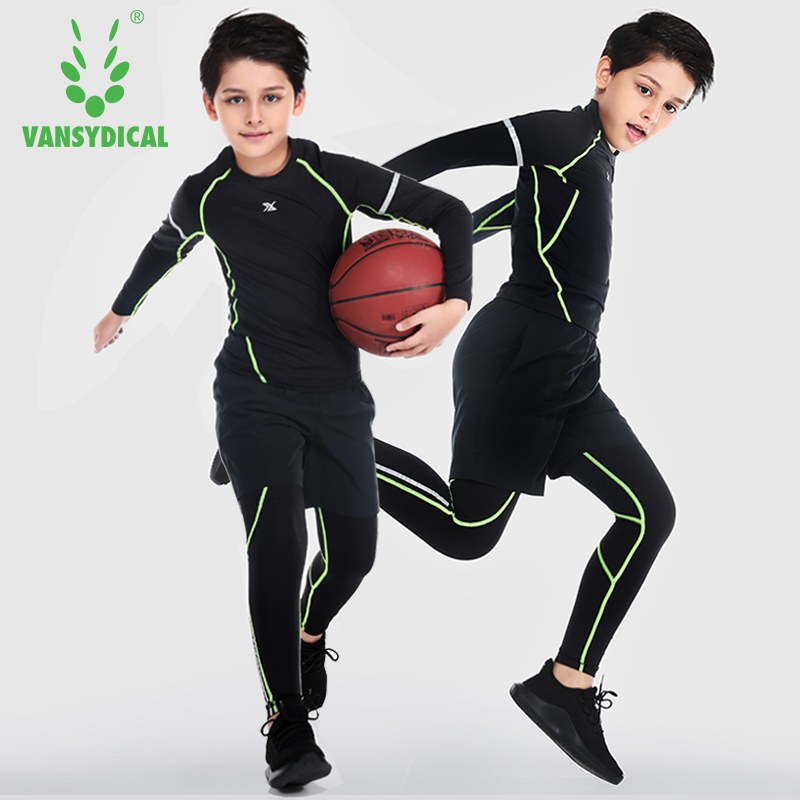Vansydical Boy's Sports Suits Breathable Compression Running Tights 3 pcs Basketball Training Sets Quick Dry Soccer Kids Kits цена