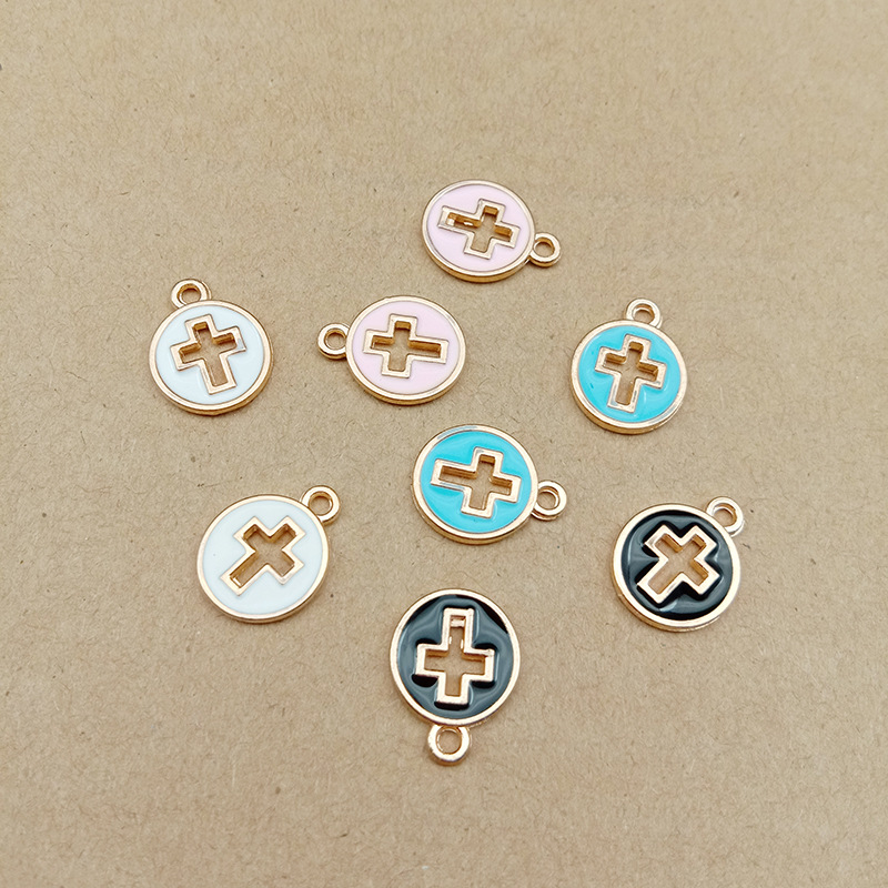 10pcs 11x15mm DIY Fashion Metal Enamel Cross Charms Ornament Gold Bracelet Pendants For Necklace Earring Jewelry Making Material