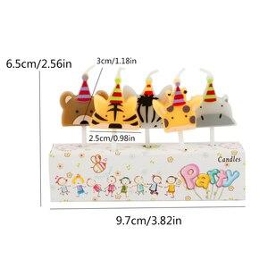 Image 4 - 5 개/대 동물 촛불 케이크 토퍼 동물원 파티 동물 생일 촛불 아이 생일 파티 케이크 촛불 케이크 장식 용품