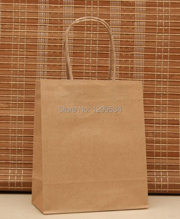 Hotsale 50pcs lot 18x15x8cm Natural Color Paper Gift Bag Recyclable Boutique Gift Jewelry Packaging Paper Bags