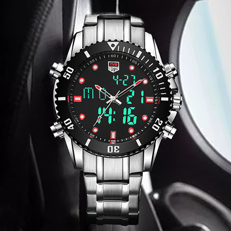 Fashion Luminous Watches TVG Top Brand Luxury Men's Watches Dual Display Stainless Steel Men's Watches Clock relogio masculino цена
