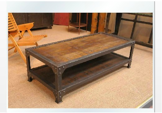 Merveilleux American Country Minimalist Upscale Vintage Wood Coffee Table Wrought Iron  Coffee Table Sofa Side A Few