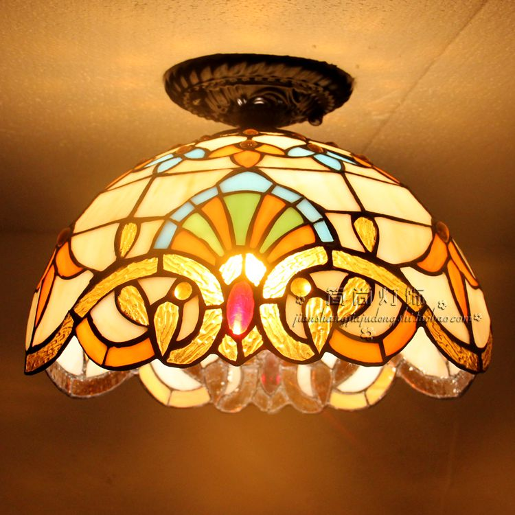 Tiffany LED Ceiling lamps room bedroom balcony window aisle porch lights lighting creative personality single Ceiling Lights the led blue ceiling lamps living room bedroom balcony window aisle porch lamp lighting creative personality ceiling lights