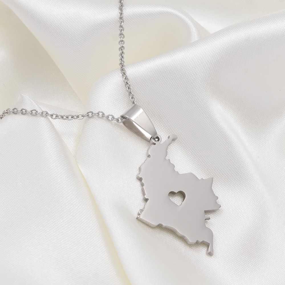 Anniyo kolumbia mapa wisiorek naszyjnik dla kobiet mężczyzn srebrny ze stali nierdzewnej biżuteria mapa kolumbijskich łańcuchów # 004521B