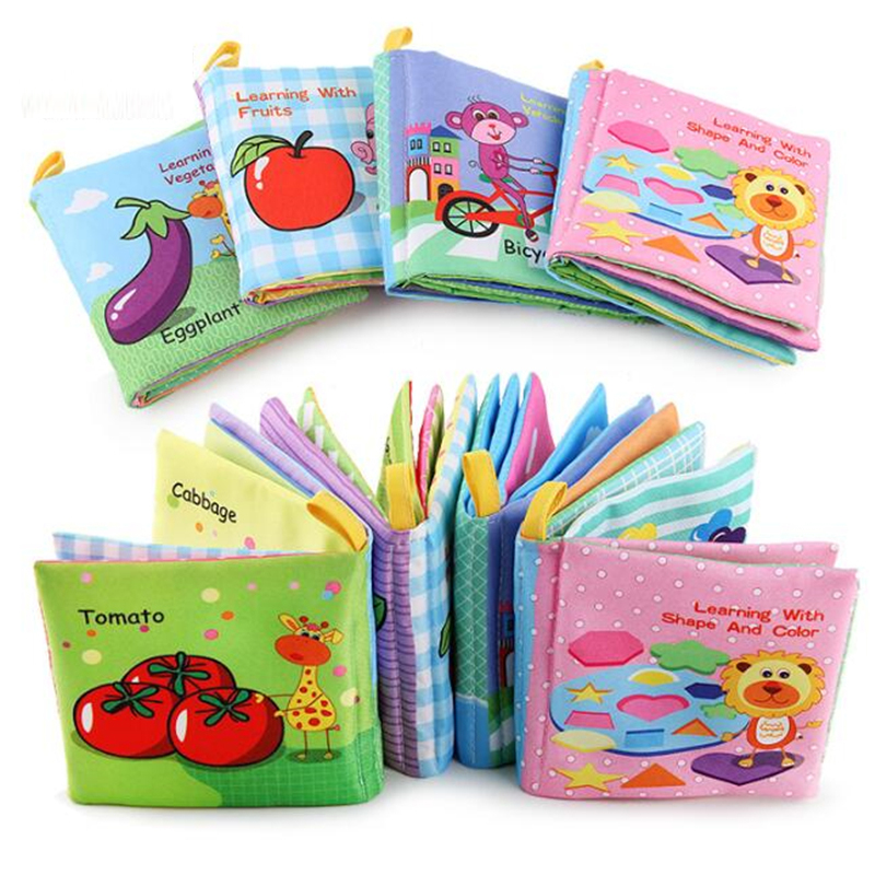 8/10pages Baby Rattles Mobiles Toy Soft Animal Cloth Book Newborn Stroller Hanging Toy Bebe Early Learning Educate Baby Toys
