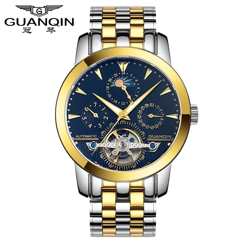 ФОТО GUANQIN GQ10028 Luxury Watches Tourbillon Automatic Mechanical Leather Watch Men Sport Date Luminous Clock reloj hombre