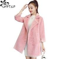 UHYTGF High Quality Imitation mink cashmere Woolen Coat Women Fashion New Gold velvetWinter Woolen Jacket Plus sizeOuterwear 935