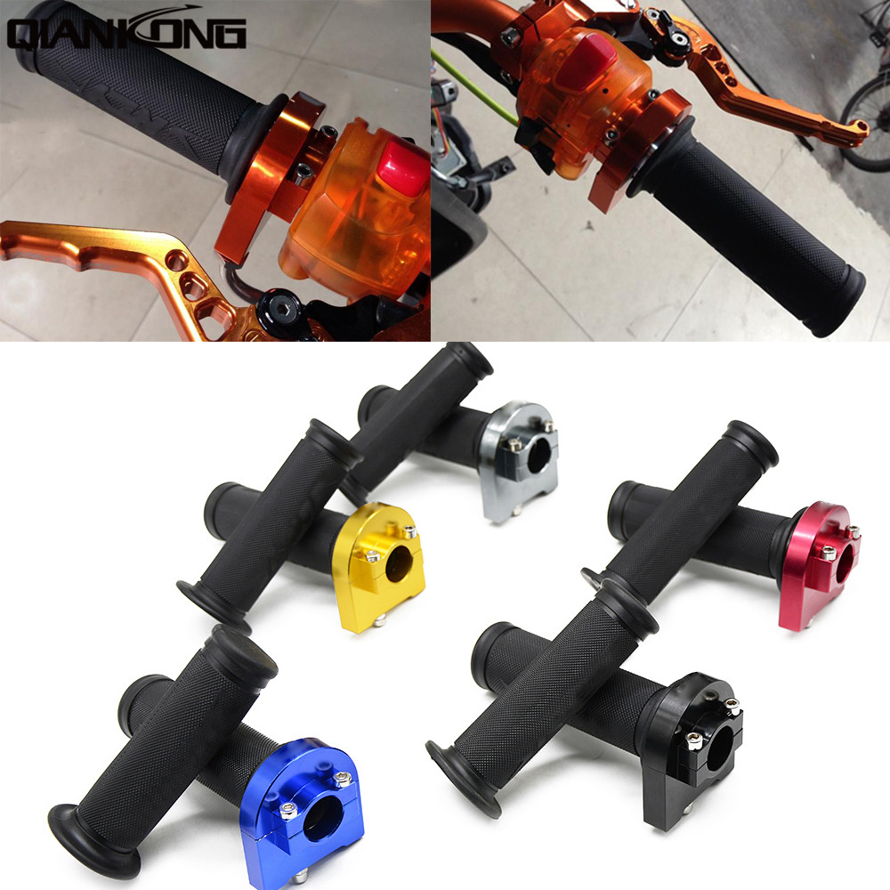 universal 7/8 22mm Dirt Pit Bike CNC Aluminum Throttle Grips Cable Fast Handle For HONDA PCX 125/150