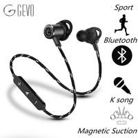 100 Original GEVO GV18 BT Bluetooth Earphone Magnetic Adsorption BT 4 1 Headset Wireless HiFi Stereo