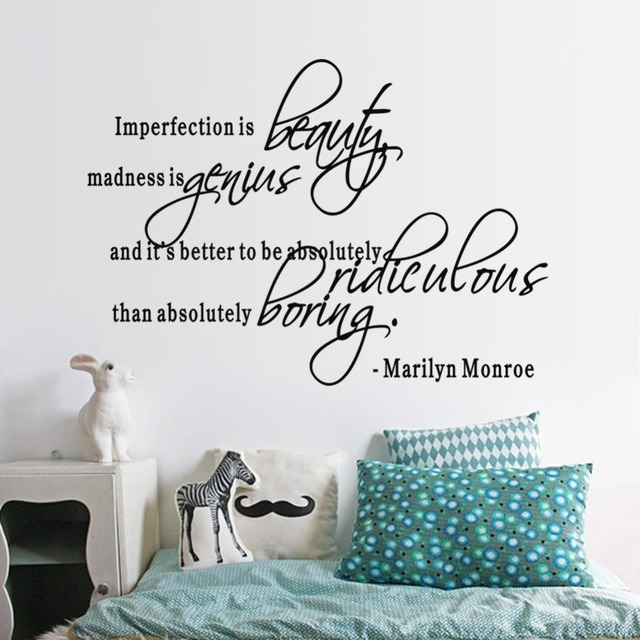 Imperfection Is Beauty MARILYN MONROE Vinyl Wall Quotes Lettering Quotes  Girls Bedroom Stickers Living Room Home