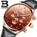 BINGER Business Quarzuhr Männer Mode Einfache Uhr Lederband Uhren Legierung Fall Wasserdichte Armbanduhr Relogio Masculino-in Quarz-Uhren aus Uhren bei