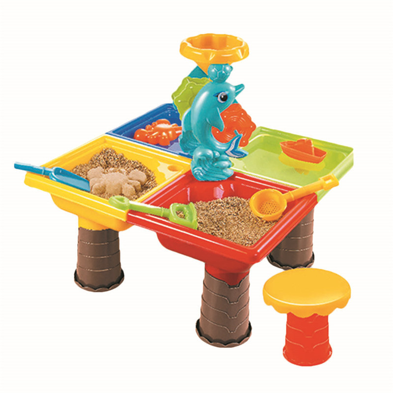 Children Outdoor Beach Toys, Kids Plastic Sand Pit Set Beach Sand Table Water Play Toy Multi-piece Baby Dredging Tools