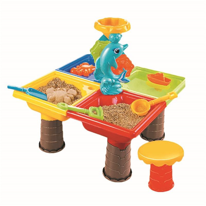 Enfants jouets de plage en plein air, enfants en plastique sable fosse ensemble plage sable Table eau jouer jouet multi-pièces bébé outils de dragage