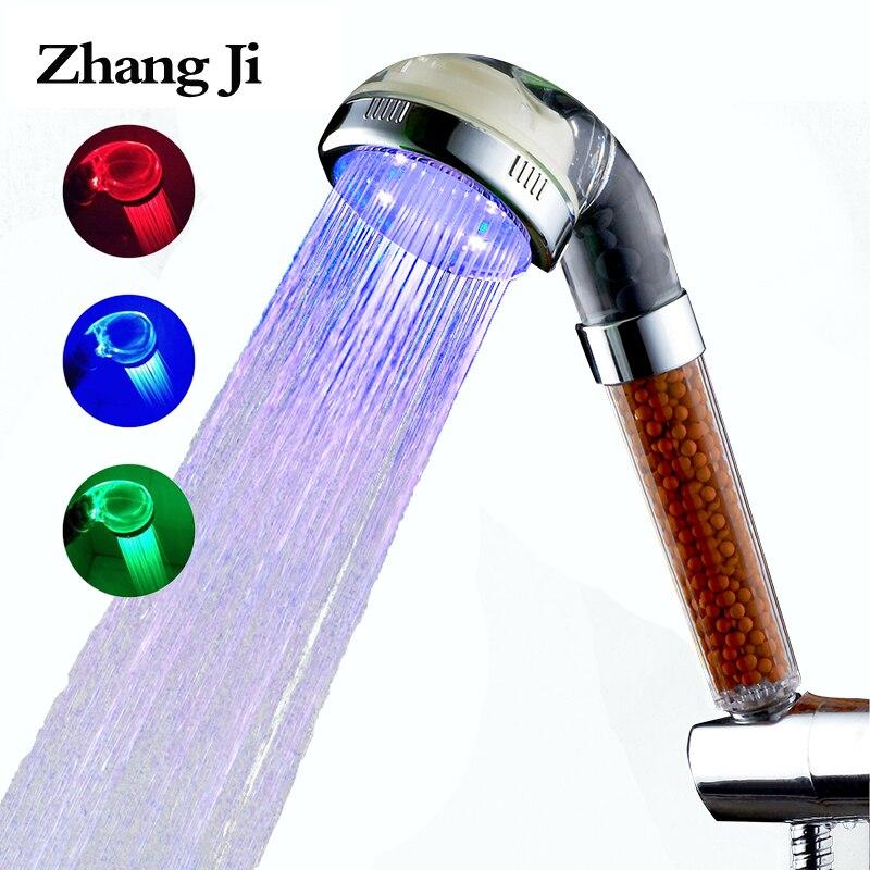 ZhangJi SPA 3 color LED la temperatura del agua de la ducha por la cabeza de ducha de luz led cabeza de ducha filtro mineral ducha