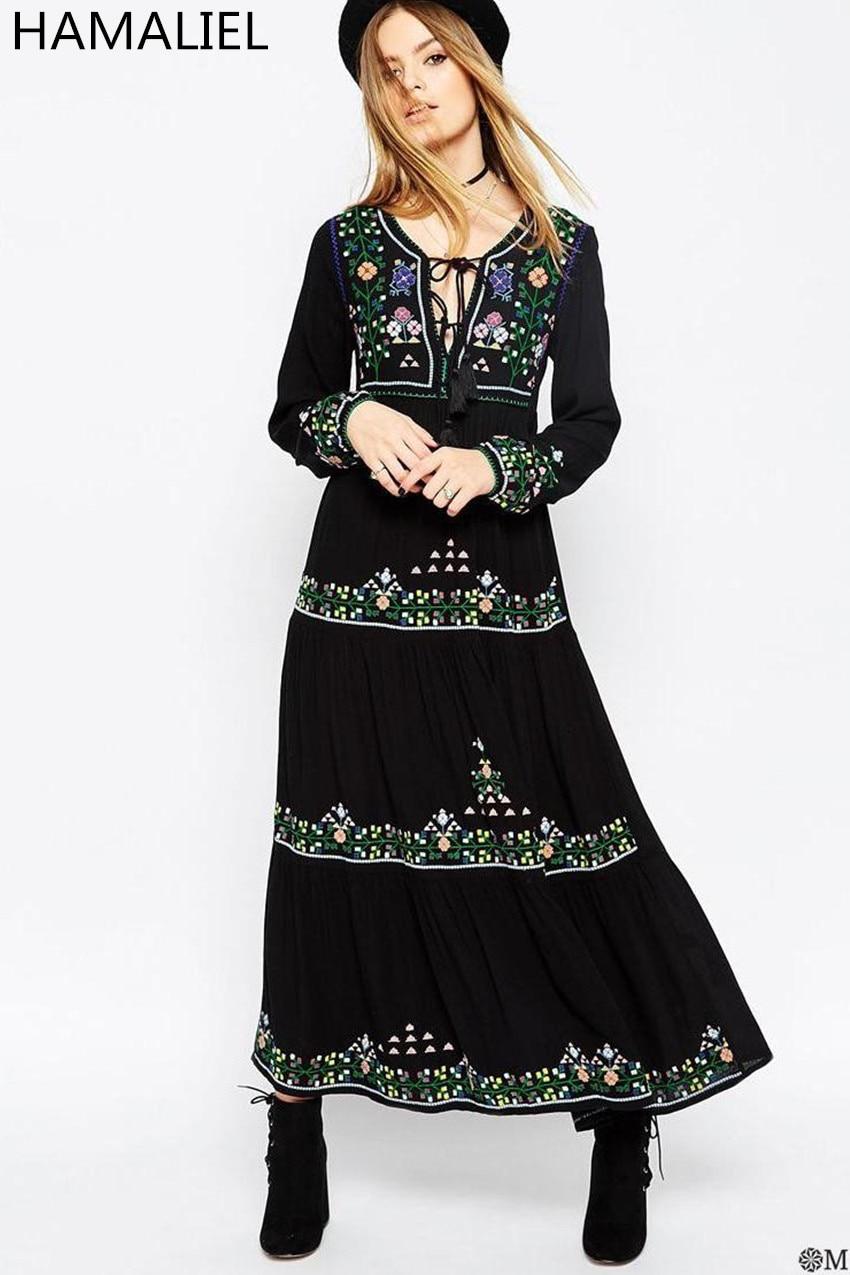 Bohemian Style Summer Women Dress 2018 Europe Black