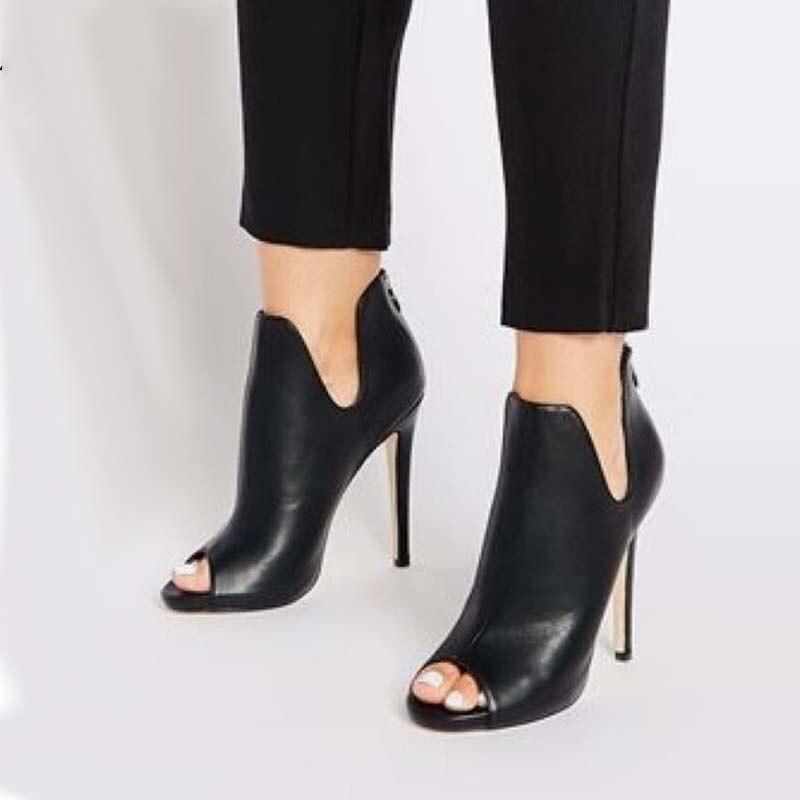 1a5a4a663 Diseño Zapatos Nueva Botas Alto Mujer Tobillo Pie De Tacón Chelsea Otoño 35  Dedo Del Primavera Mujeres Abierto ...