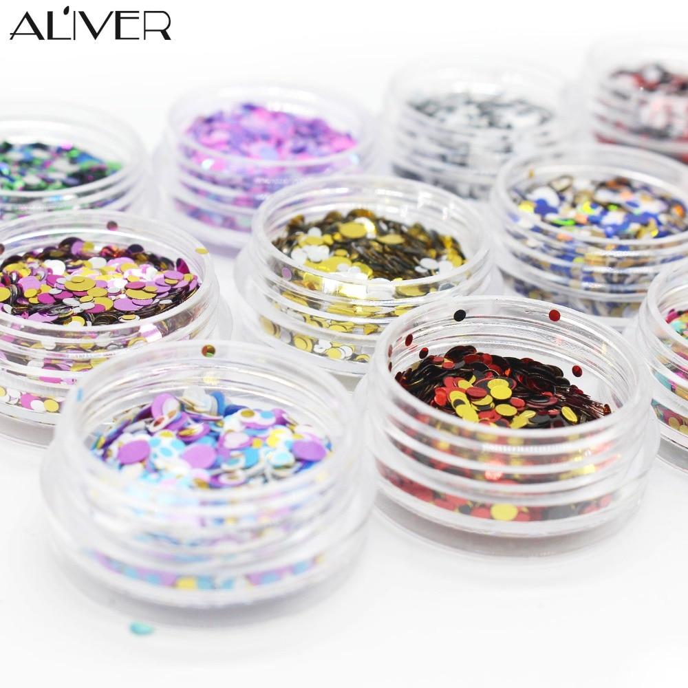ALIVER 12 színes műanyag körömlakk csillogó por színe vegyes - Köröm művészet - Fénykép 3
