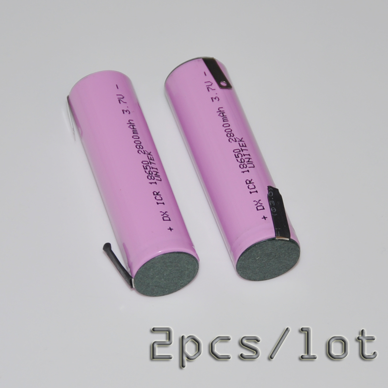 2PCS/LOT 3.7V <font><b>18650</b></font> <font><b>battery</b></font> <font><b>2800mah</b></font> rechargeable li-ion cell with welding tabs pins for LED Torch flashlight and DIY powerbank image