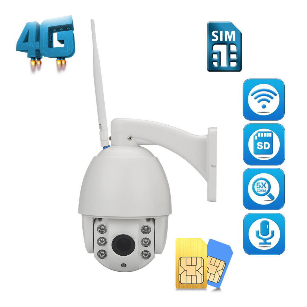 HD 4G SIM Card Camera WIFI 1080P PTZ Speed Dome Cam Wireless Outdoor 5X Optical Zoom SD Card IR P2P 2MP CCTV IP Camera Wi-Fi 2016 outdoor 1080p wifi ptz camera array ir 2 8 12mm lens 4x optical zoom auto focus waterproof speed dome cam support sd card
