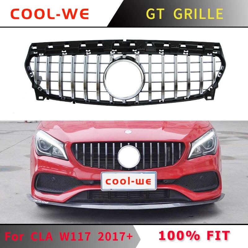 Convient pour Mercedes Benz CLA classe W117 pour AMG GTR GT R Grille CLA200 CLA220 CLA260 CLA45 2016 + sans emblème