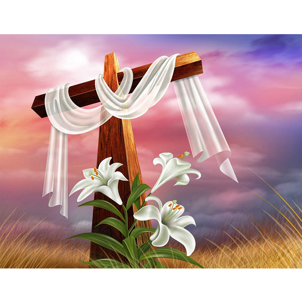 5D DIY Diamond Drawing Tools Diamond Embroidery All Crystal White Flower Cross Stitch Home Decoration YZ69
