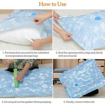 11PCS Thickened Vacuum Storage Bag For Cloth Compressed Bag with Hand Pump Reusable Blanket Clothes Quilt Organizer