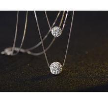 ANENJERY 925 argent Sterling Double couche brillant CZ zircone cristal chanceux boule pendentif collier pour les femmes cadeau collares S-N58
