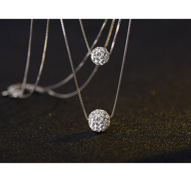 Collar de plata de ley 925 anenjary con doble capa de Zirconia cúbica brillante, colgante de bola de la suerte para mujer, collar de regalo S-N58
