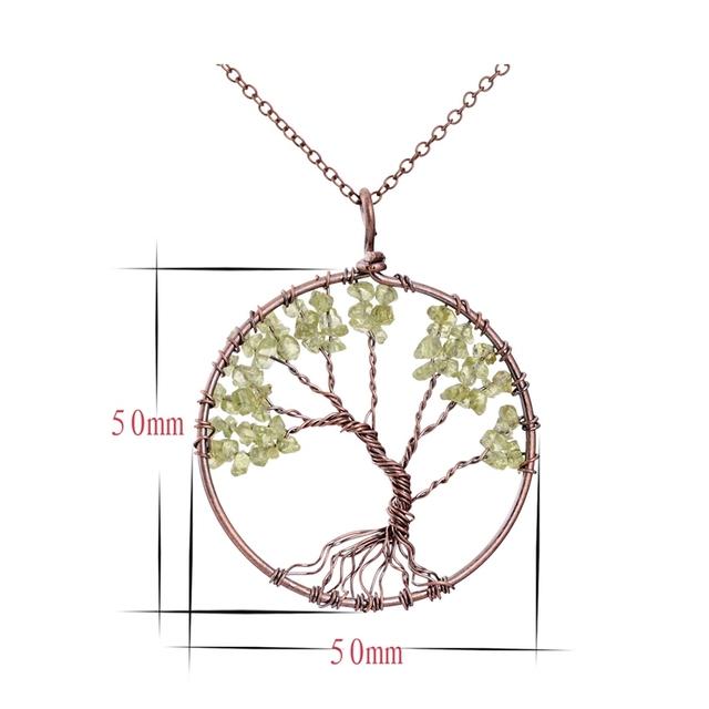 SEDmart 7 Chakra Tree Of Life Pendant Necklace Copper Crystal Natural Stone Necklace Quartz Stones Pendants Women Christmas Gift