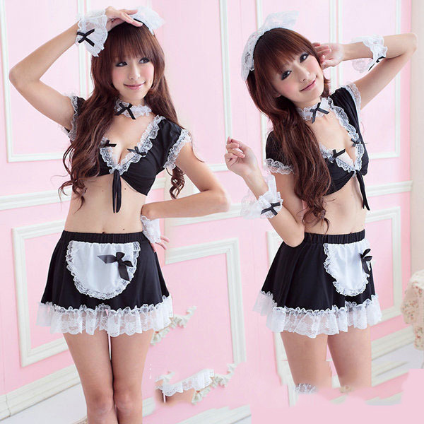 candiway Sexy maidservant Babydoll uniform ayah Cosplay porn panties robe sexy club maid costume sexy amah nightwear