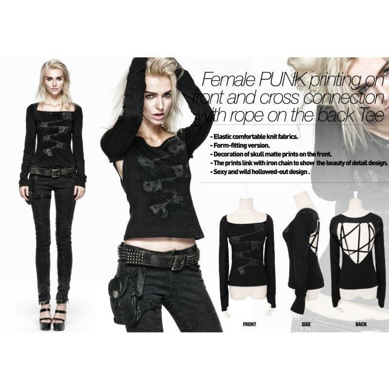 Панк рейв модная новинка Женская рубашка Топ Футболка красивая Готическая визуальная kei Черная открытая футболка с длинным рукавом T370