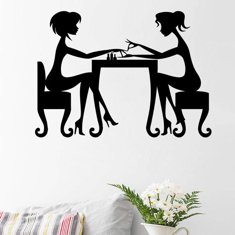 Fashionable Nail Salon Wall Stickers Artist Manicure Lady Wall Mural Waterproof Art Decal Vinyl Removable Home Decor ...
