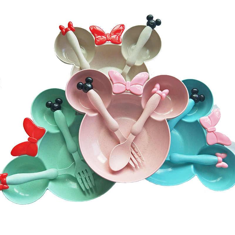 3 шт./компл. мультфильм детский набор посуды Пшеничная солома детская тарелка столовая утварь для кормления набор для детей чаша OPP упаковка