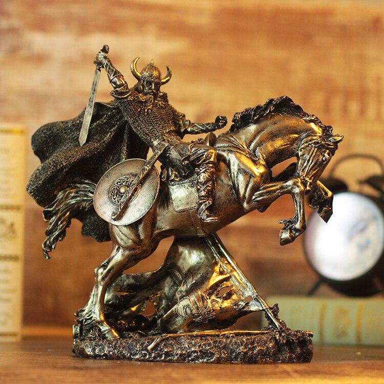 Chevalier aqumotique corne guerrier médiéval guerrier armure 28 cm rétro Rome dieu pour la guerre Sculpture 1 pc cheval héros décoration mobile cadeau