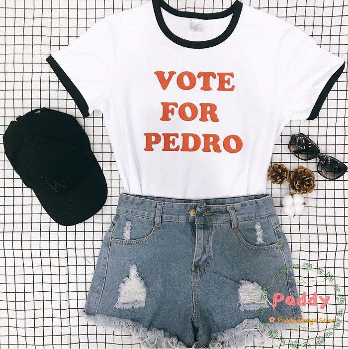 Gepäck & Taschen Okoufen Stimme Für Pedro T-shirt Ringer Buchstabedruckes T Mode Unisex Baumwolle Plus Size Tops Crewneck Kurzarm Coole Kleidung