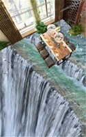 Custom Any Size 3D Mural Wallpaper Large Thrilling And Realistic Waterfall 3D Floor Interior Wallpaper Mural
