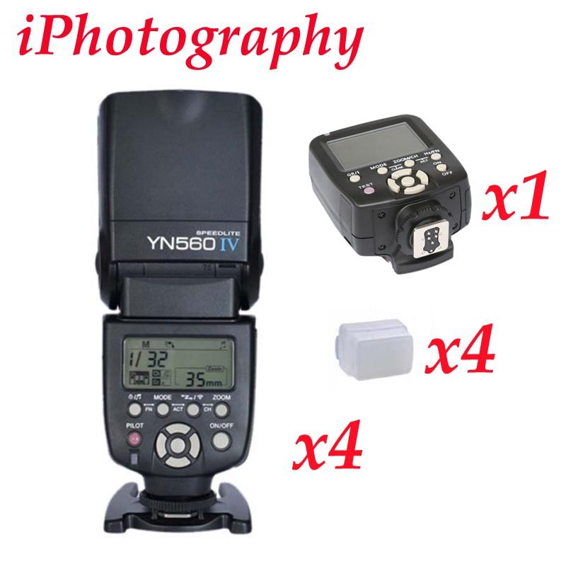 Yongnuo YN560TX LCD Wireless Flash Controller + 4pcs YN560 IV Flash kit For Canon yongnuo yn560tx lcd wireless flash controller 3pcs yn560 iv flash kit for nikon
