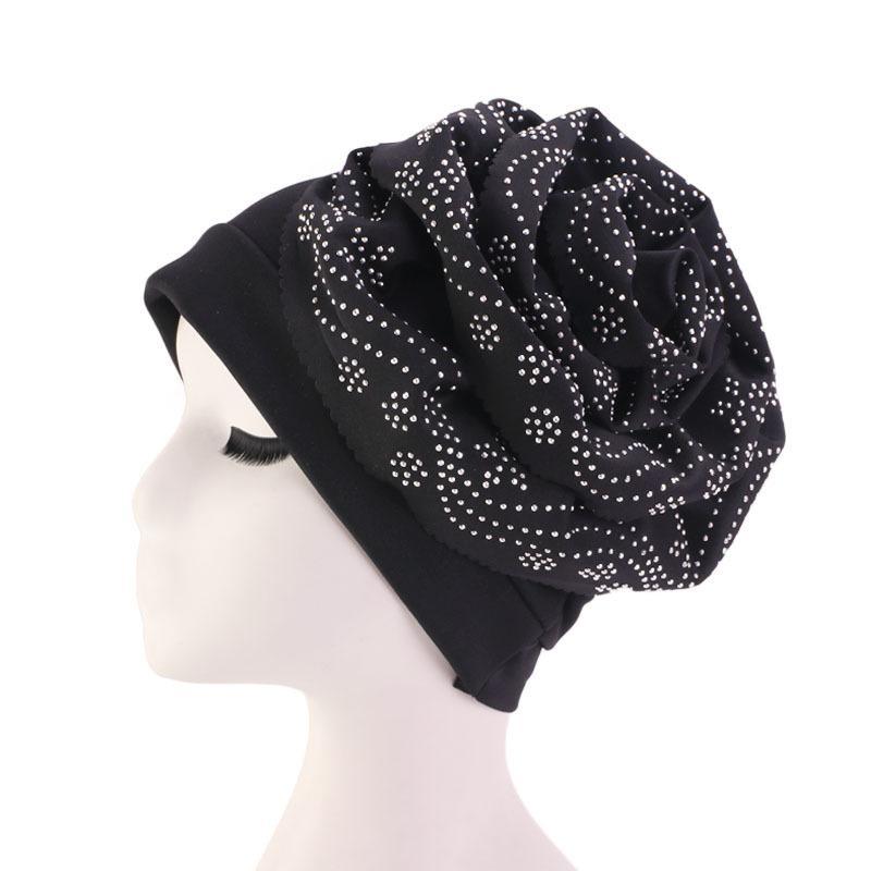 Image 3 - Muslim Hat Beanie Chemo Caps Shiny Glitter Turban Bandana Head  Wrap Cover Hair Accessories Women Turban Elegant FlowerWomens Skullies