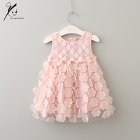 2017 Summer 3D Lace Sleeveless Ruffles Baby Girls Dresses Princess Party Flower Children Clothing Kids Clothes