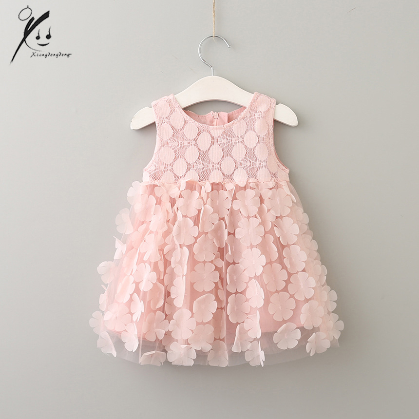 2017 Summer 3D Lace Sleeveless Ruffles Baby Girls Dresses Princess Party Flower Children Clothing Kids Clothes XDD-5092 2016 new summer girls kids rose flower princess sleeveless party elegant tutu lace dress cute baby clothes children clothing