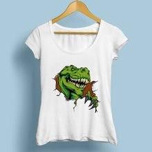 1441f1890 vivid 3d Dinosaur cool T-Rex break out funny tshirt women 2018 summer new  white casual creative t shirt femme no glue print