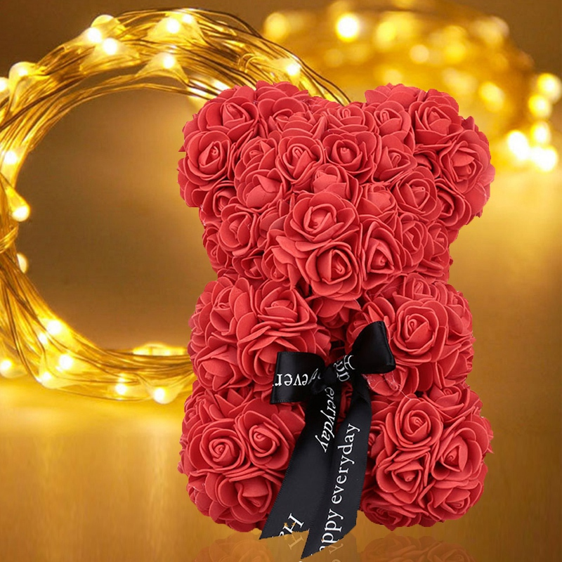 New-23Cm-Foam-Bear-Of-Roses-Bear-Rose-Flower-Artificial-2019-New-Year-Gifts-For-Women