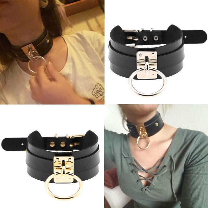 Punk Gothic Wide PU Leather O Ring Collar Choker Necklace Women Fashion  SN