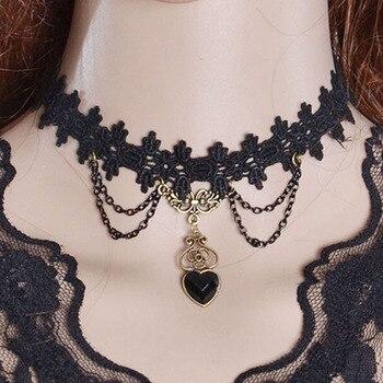 bd5b1d0b3b69 24 unids set gothic lace choker collar cadena del amor del corazón de la  borla collar de joyería de las mujeres regalos