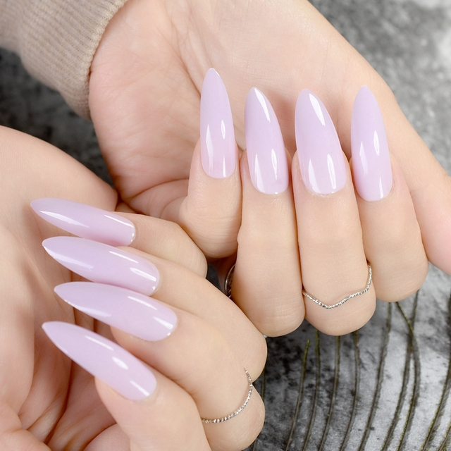 Extra Long Stiletto Nails Sharp Top Light Purple Pure Candy Acrylic Nail Tips Diy Lady Fake