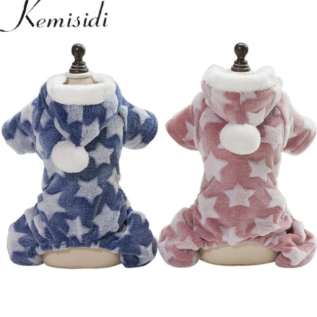 KEMISIDI Dog Pajamas Jumpsuit Autumn Winter Dog Clothes Fleece Four legs Warm Pet Clothing Outfit Small Dog Star Costume Apparel
