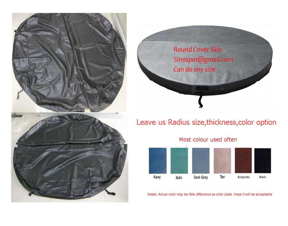 Round hot tub cover leather Diameter 2000mm 10cm thickness can do any other size for swim pool spa 2200mmx1900mm hot tub spa cover leather skin can do any other size