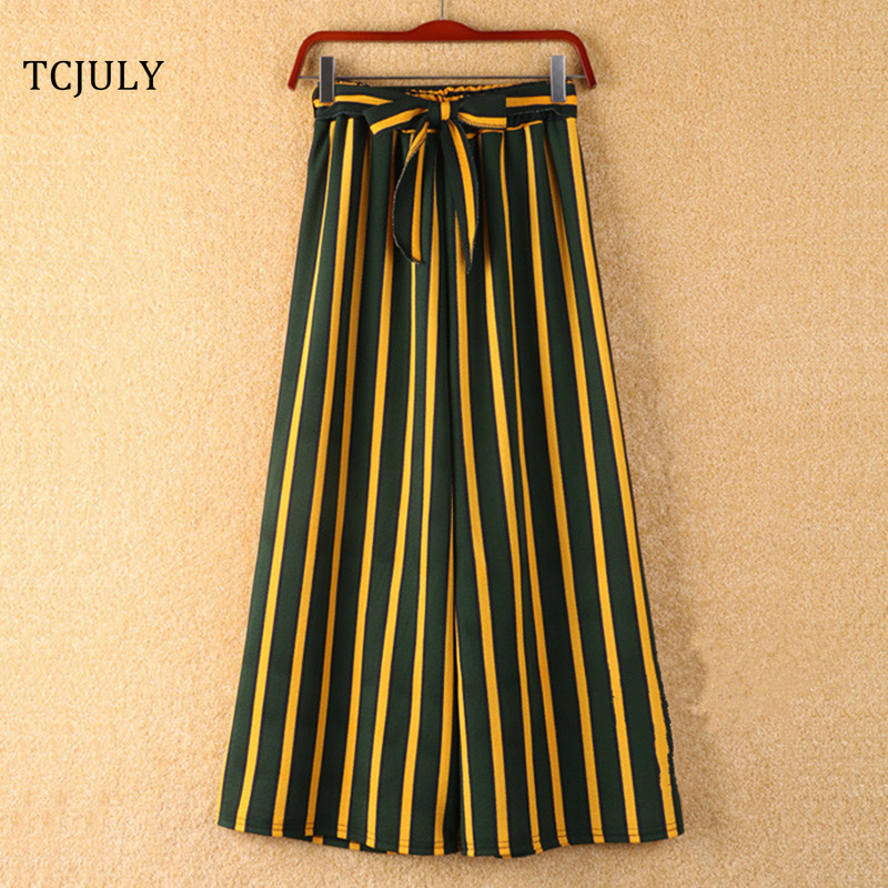 TCJULY 2019 Summer Bohemian Style Striped Wide Leg Pants Bow Ties Decorate Ankle Length Trousers Women Loose Casual Female Pants