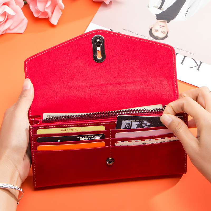Image 4 - Contactss New Genuine Leather Clutch Wallet for Women Female Card Holders Coin Purse Zipper Money Bag Long Wallets CarteraWallets   -
