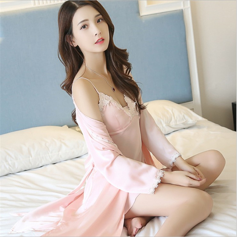Fashion women Robe Pijama Nightgowns 2-piece suits sleepwear lingerie sleepshirts sleeping dress nightdress lovers Homewear